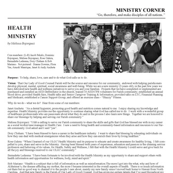 MINISTRY CORNER - HEALTH MINISTRY