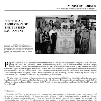 MINISTRY CORNER - PERPETUAL ADORATION OF THE BLESSED SACRAMENT
