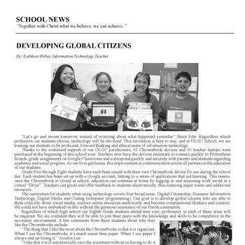 SCHOOL NEWS - DEVELOPING GLOBAL CITIZENS