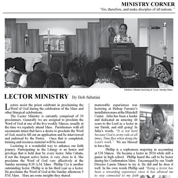 MINISTRY CORNER - LECTOR MINISTRY