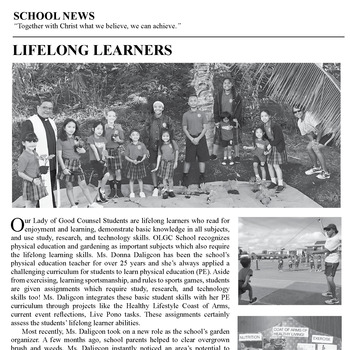 SCHOOL NEWS - LIFELONG LEARNERS