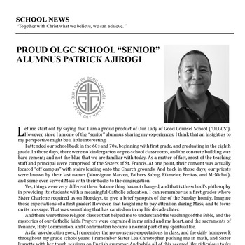 "SCHOOL NEWS - PROUD OLGC SCHOOL ""SENIOR"" ALUMNUS PATRICK AJIROGI"