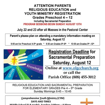 ATTENTION PARENTS RELIGIOUS EDUCATION and YOUTH MINISTRY REGISTRATION