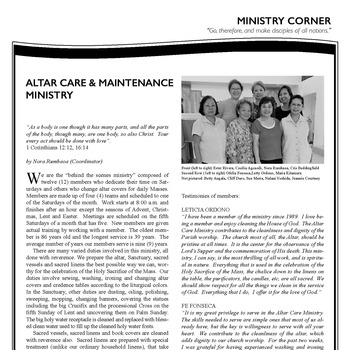 ALTAR CARE & MAINTENANCE MINISTRY