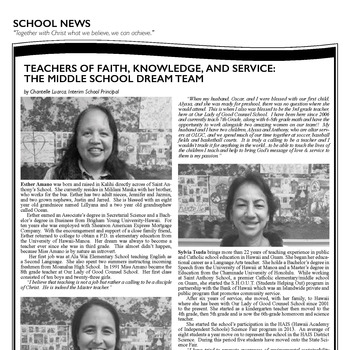 TEACHERS OF FAITH, KNOWLEDGE, AND SERVICE: THE MIDDLE SCHOOL DREAM TEAM