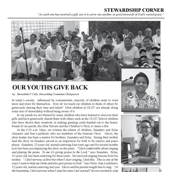 STEWARDSHIP CORNER - OUR YOUTHS GIVE BACK