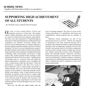SCHOOL NEWS - SUPPORTING HIGH ACHIEVEMENT OF ALL STUDENTS