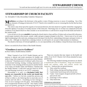 STEWARDSHIP CORNER - STEWARDSHIP OF CHURCH FACILITY