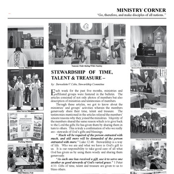 MINISTRY CORNER - STEWARDSHIP OF TIME, TALENT & TREASURE STEWARDSHIP COMMITTEE
