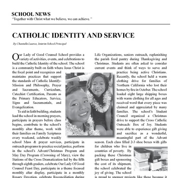 SCHOOL NEWS - CATHOLIC IDENTITY AND SERVICE