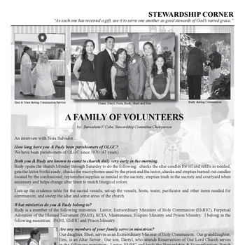 STEWARDSHIP CORNER - A FAMILY OF VOLUNTEERS