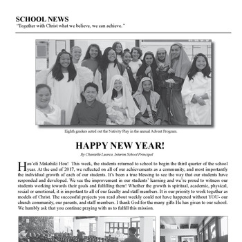 SCHOOL NEWS - HAPPY NEW YEAR!