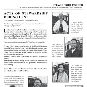 STEWARDSHIP CORNER - ACTS OF STEWARDSHIP DURING LENT