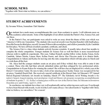 SCHOOL NEWS: STUDENT ACHIEVEMENTS