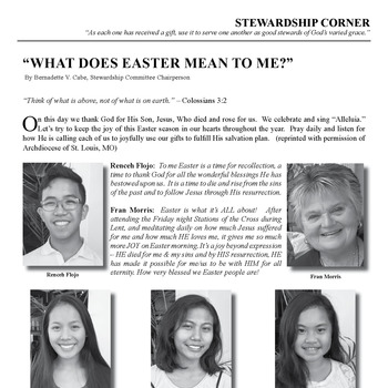 "STEWARDSHIP CORNER: ""WHAT DOES EASTER MEAN TO ME?"""