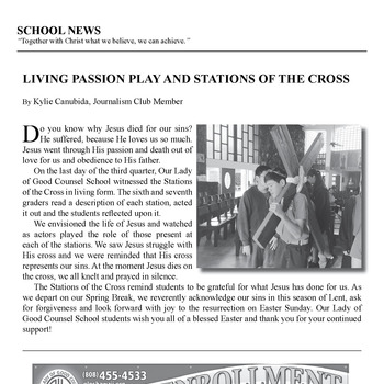 SCHOOL NEWS: LIVING PASSION PLAY AND STATIONS OF THE CROSS