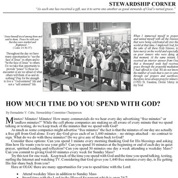 STEWARDSHIP CORNER - HOW MUCH TIME DO YOU SPEND WITH GOD?