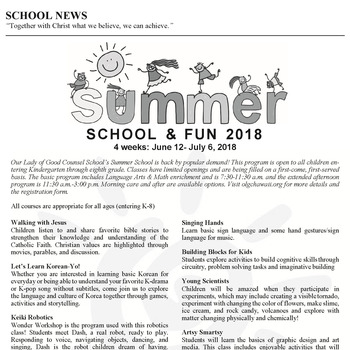 SUMMER SCHOOL & FUN 2018