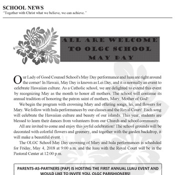 SCHOOL NEWS - ALL ARE WELCOME TO OLGC SCHOOL MAY DAY