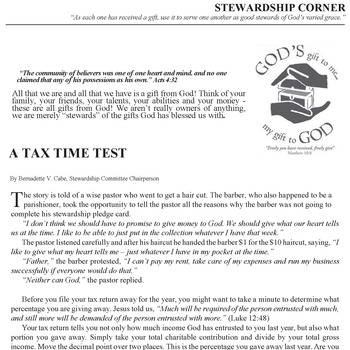 STEWARDSHIP CORNER - A TAX TIME TEST