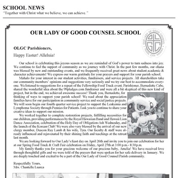 SCHOOL NEWS - HAPPY EASTER ALLELUIA!
