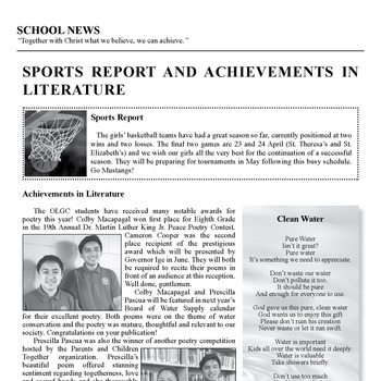 SCHOOL NEWS - SPORTS REPORT AND ACHIEVEMENTS IN LITERATURE