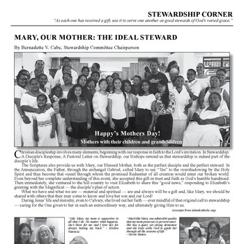 STEWARDSHIP CORNER - MARY, OUR MOTHER: THE IDEAL STEWARD