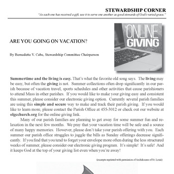 STEWARDSHIP CORNER - ARE YOU GOING ON VACATION?