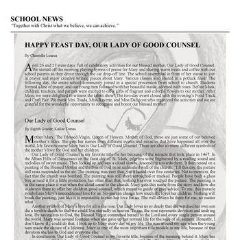 SCHOOL NEWS - HAPPY FEAST DAY, OUR LADY OF GOOD COUNSEL