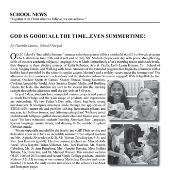 SCHOOL NEWS - GOD IS GOOD! ALL THE TIME... EVEN SUMMERTIME!