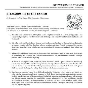 STEWARDSHIP CORNER - STEWARDSHIP IN THE PARISH.