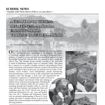 SCHOOL NEWS - A FIELD TRIP TO WITNESS: MINDFULNESS