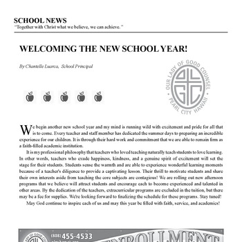 SCHOOL NEWS - WELCOMING THE NEW SCHOOL YEAR!