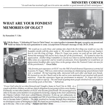 MINISTRY CORNER: WHAT ARE YOU FONDEST MEMORIES OF OLGC?