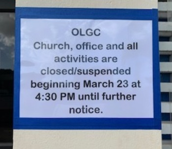 CHURCH, OFFICE AND ALL ACTIVITIES AFFECTED