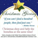 Mother Teresa Shelter: give <div>  <span>gift that blesses less fortunate</span> </div>