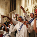 In New York service, pope offers encouragement to men, women religious