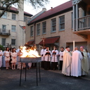 Bishop Mulvey celebrates the Easter Vigil