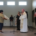 Bishop Mulvey blesses new religious education/multi-use building