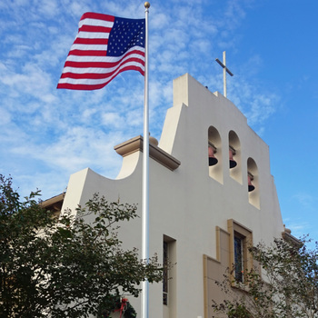 Holy Family gets flagpole from Eagle Scout project