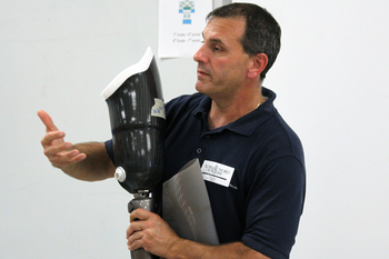 Local prosthetist made visit to middle school robotics class