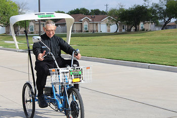 Retired priest pedals for shopping sprees