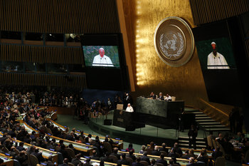 People come first, human life is sacred, pope insists at U.N.