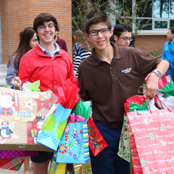 Foster children receive gifts from high school students