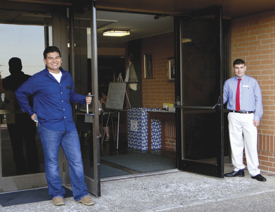 TGIF teens from left Kevin Gonzales and Ramses Barfield serve as door greeters at the Sunday evening Mass. & Teens growing in faith bear good fruit | South Texas Catholic ...