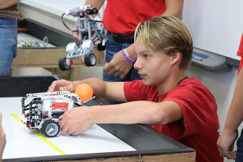 Students test STEM skills in Robotics Basketball Shootout