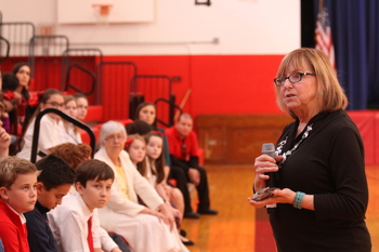 Best-selling author Terri Farley visits with students