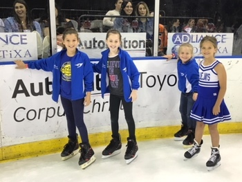 St. Pius X Cheer Squad performs at Ice Rays game