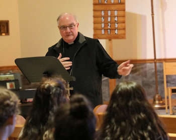 Bishop talks to students at 'Faith Alive' series