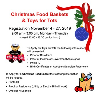Christmas Food Baskets and Toys for Tots registration open through Nov. 27